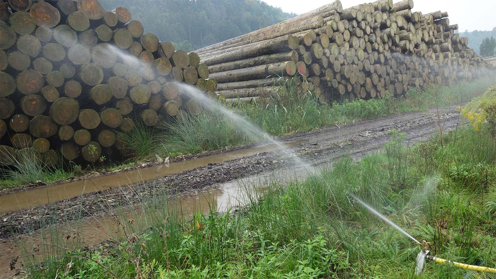 Holz Bewässerung
